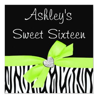 "Zebra Lime Green Bow Diamond Sweet 16 Invitations 5.25"" Square Invitation Card"