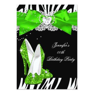 Zebra Lime Green Glitter High Heel Shoe Birthday Card