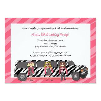 Zebra Limo Girls Invitations