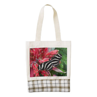 Zebra Longwing Butterfly on Red and Green Zazzle HEART Tote Bag