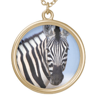 Zebra looking at you round pendant necklace