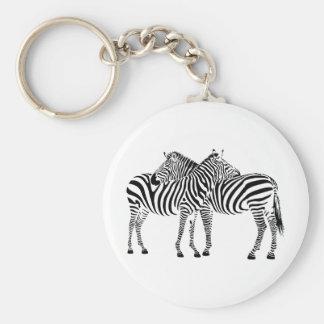 Zebra Love Basic Round Button Keychain
