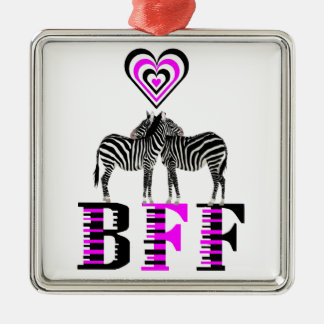 Zebra Love - BFF Metal Ornament