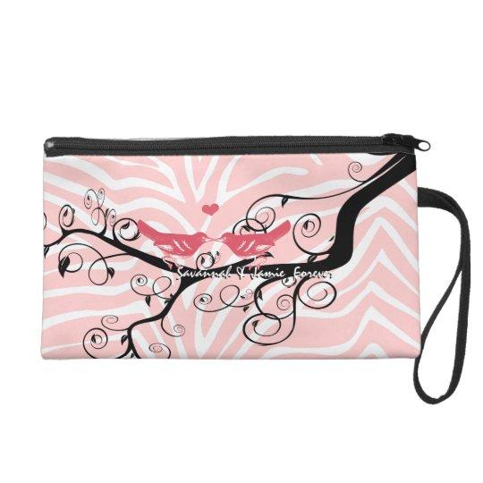 Zebra Love Bird Pink Black Designer Clutch Purse