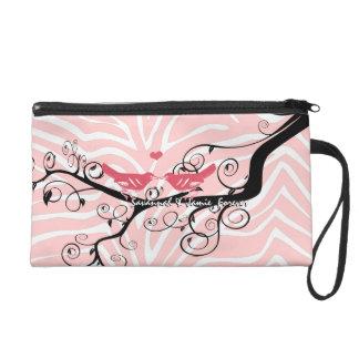 Zebra Love Bird Pink Black Designer Clutch Purse Wristlet