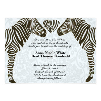 Zebra Love Blue Damask Style Wedding Invitation