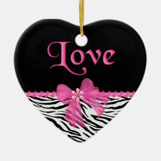 Zebra Love Ceramic Ornament