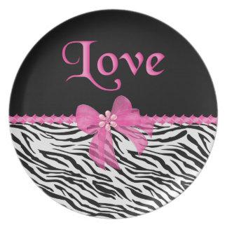 Zebra Love Dinner Plate