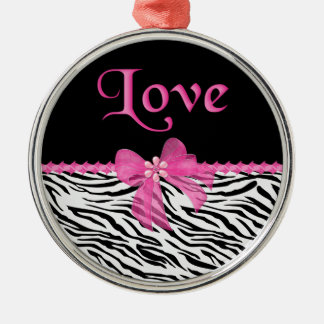 Zebra Love Metal Ornament