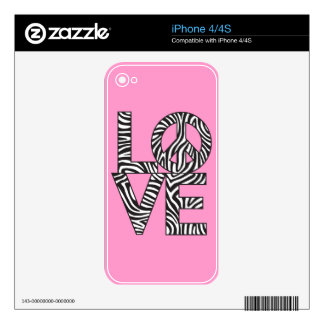 Zebra Love Peace Decals For The iPhone 4