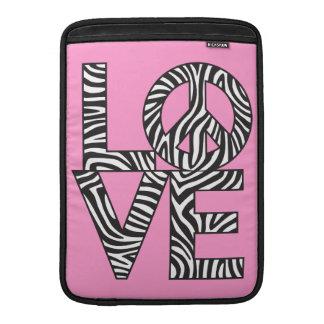 Zebra Love Peace MacBook Sleeve