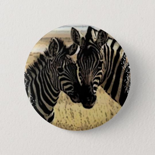 ZEBRA LOVE PINBACK BUTTON