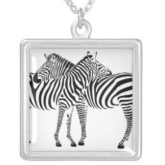 Zebra Love Square Pendant Necklace