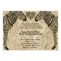 Zebra Love Vintage Paper Wedding Invitation