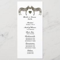 Zebra Love Wedding Program