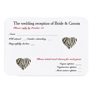 Zebra Love Wedding Reception and meal choices RSVP Card