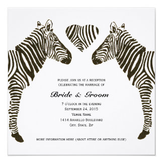 Zebra Love Wedding Reception Invitation