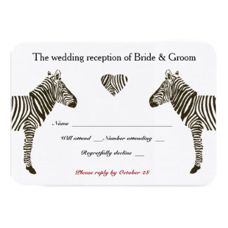 Zebra Love Wedding Reception RSVP Card