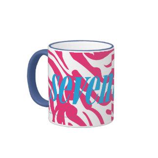 Zebra Magenta Ringer Coffee Mug