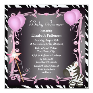 Zebra & Magic Wand Pink Princess Baby Shower 5.25x5.25 Square Paper Invitation Card
