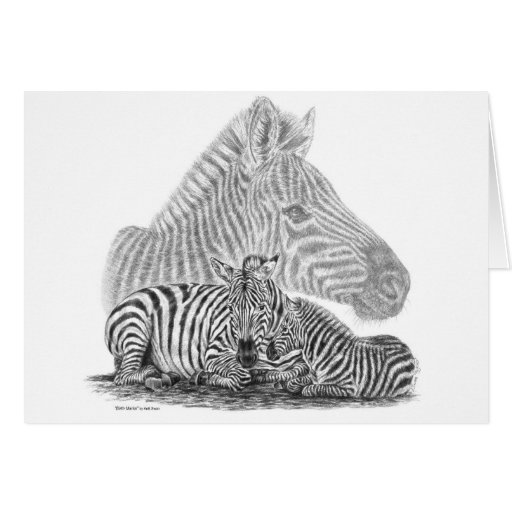 Zebra Mare and Foal Pencil Drawing by Kelli Swan Stationery Note Card