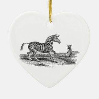 Zebra Mare Foal Vintage Art Drawing Ornament