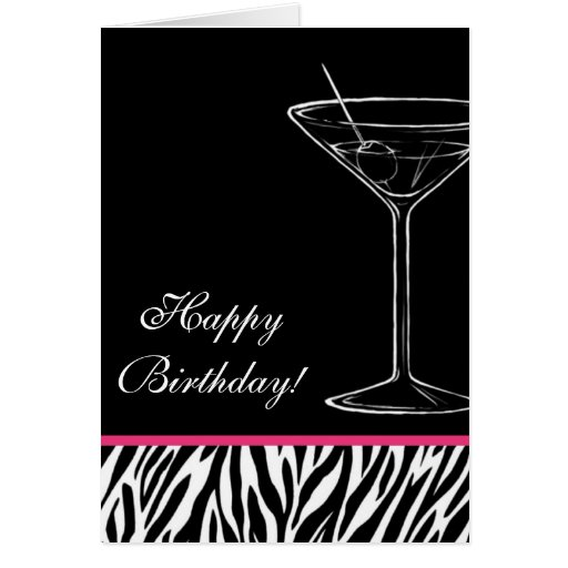 Zebra Martini Birthday Card