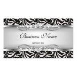 Zebra Metal Chrome Look Elegant Black White Silver Business Cards