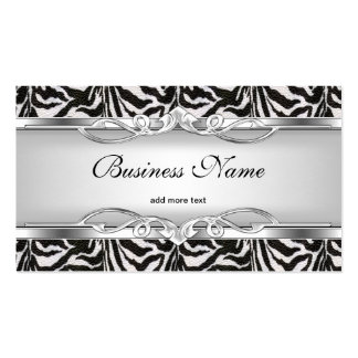 Zebra Metal Chrome Look Elegant Black White Silver Double-Sided Standard Business Cards (Pack Of 100)