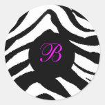 zebra monogram, B Sticker