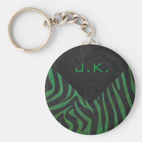 Zebra Monogram Black and Green Print Keychain