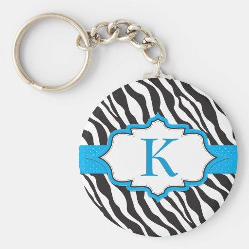 Zebra Monogram Blue Ribbon Keychain