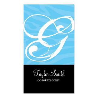 Zebra Monogram Business Card (Sky)