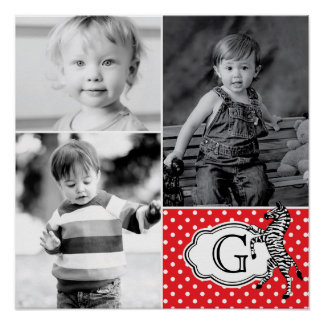 Zebra Monogram Children's Photo Collage Poster