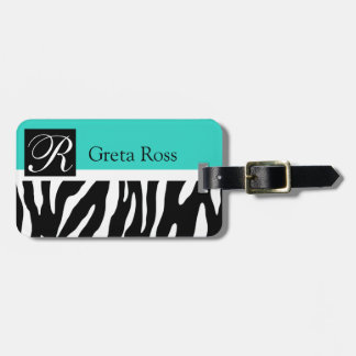 Zebra Monogram | CHOOSE YOUR OWN BACKGROUND COLOR Tags For Bags