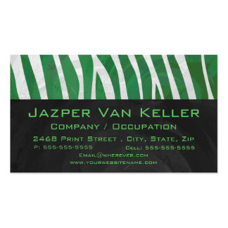 Zebra Monogram Green and White Print Business Card