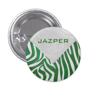 Zebra Monogram Green and White Print Button