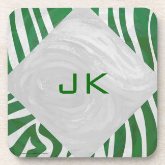 Zebra Monogram Green and White Print Drink Coaster