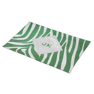 Zebra Monogram Green and White Print Placemat