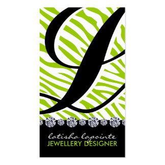 Zebra Monogram Jewellery Designer Business Cards
