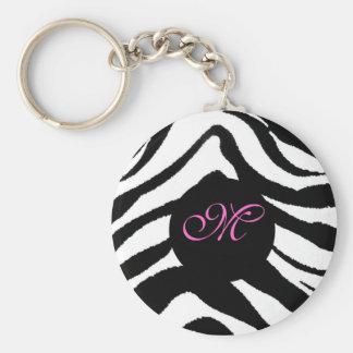 zebra monogram, M key chain