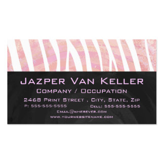 Zebra Monogram Pink and White Business Card