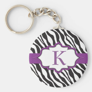Zebra Monogram Purple Ribbon Keychain
