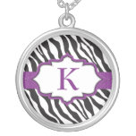 Zebra Monogram Purple Ribbon Necklace