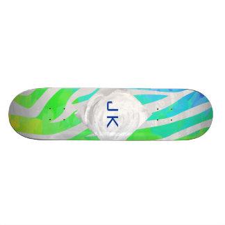 Zebra Monogram Rainbow and White Print Skateboard Deck