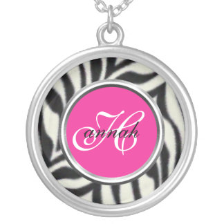 Zebra Monogramed Necklace- personalize as desired