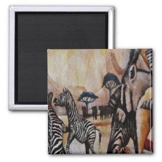 Zebra Mural 2 Inch Square Magnet