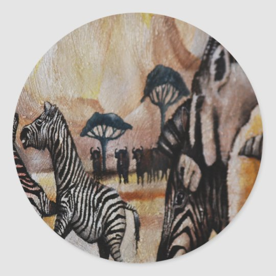 Zebra Mural Classic Round Sticker