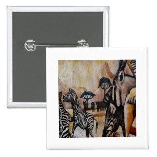 Zebra Mural Pinback Button