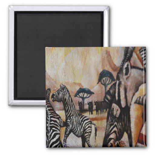 Zebra Mural Refrigerator Magnet